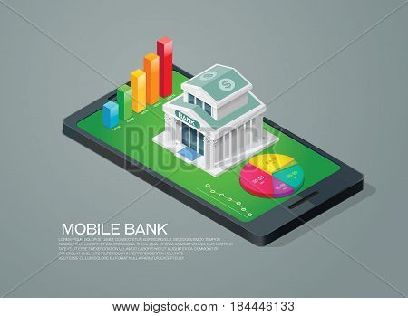 mobile bank isometric and chart graph mobile phone
