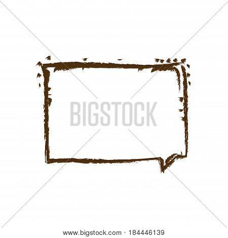 monochrome hand drawn silhouette of rectangular speech vector illustration