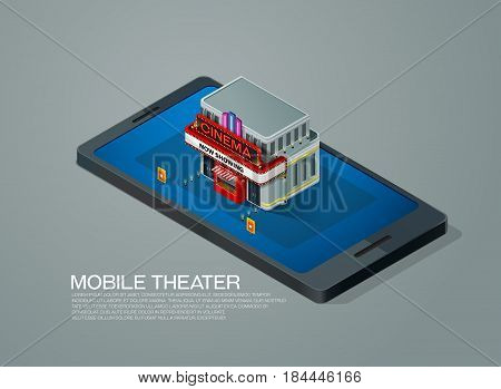 mobile phone ticket reservation cinema theater isometric vector illustration