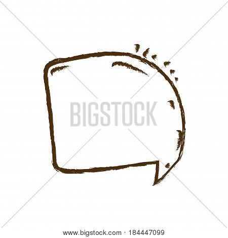 monochrome hand drawn silhouette of rounded square speech vector illustration