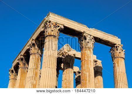 Ancient Temple of Zeus Olympeion, Athens Greece. Close-up.
