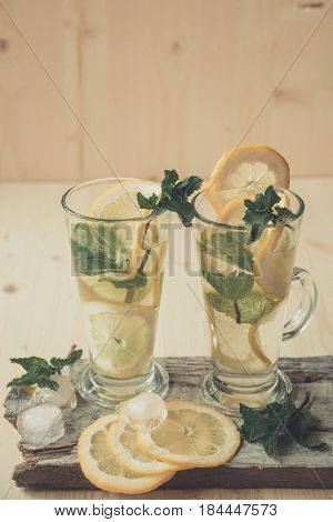 Non-alcoholic Or Alcoholic Mojito Cocktail With Lemon And Mint