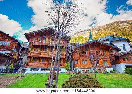 Leukerbad Village With Stunning Swiss Alps