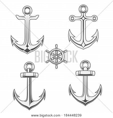 Anchors and Rudder in monochrome decorative Style. Vector Illustrations Set for graphic Design or Shirt Print