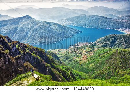 View to Lugano city San Salvatore mountain and Lugano lake from Monte Generoso Canton Ticino Switzerland