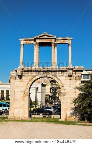 Hadrian's gate on a sunny day, Athens historical center, Greece. Vertical.