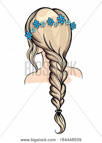Woman Holding Her Braid Set Of Hairstyles. Bridal Hairdo. Hand Drawn.