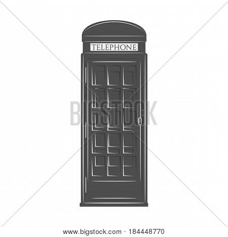 London Phone Booth in graphic monochrome Style. Vector Symbol of United Kingdom