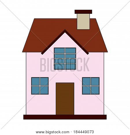 color image cartoon facade confortable house with two floors vector illustration