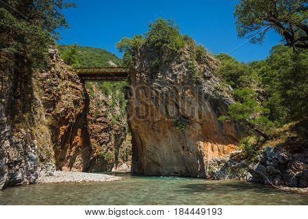 Scenic Mountain  Landscape With Krikiliotis River, Evritania