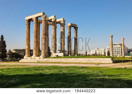 Temple of Olympian Zeus Athens Greece, spring 2017.