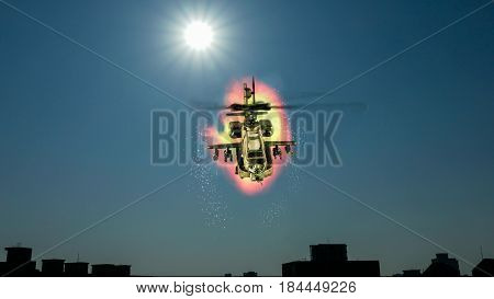 Helicopter Flying In Front Of Explosion
