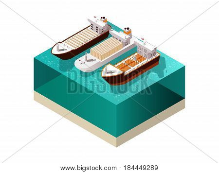 Ships isometric set with three heavily laden cargo boat vessels with shadows on sea water surface vector illustration