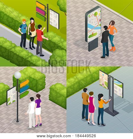 Outdoor city streets plan visitors guides and maps for  tourists 4 isometric icons set isolated vector illustration