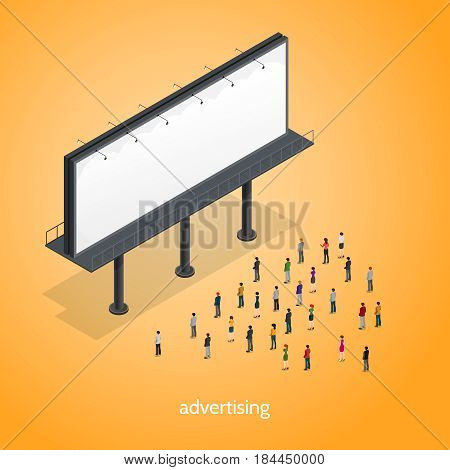 Advertising isometric concept with people on orange background isometric vector illustration
