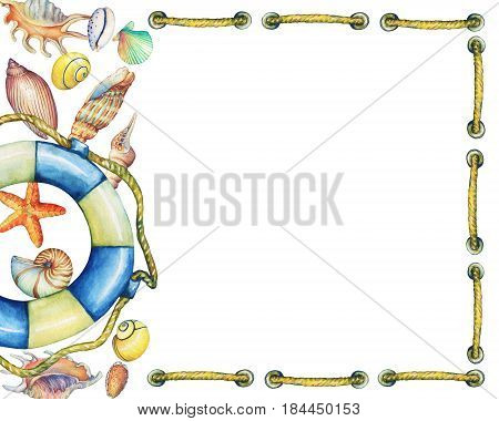 Square frame with underwater life objects and  lifebuoy. Marine design. Hand drawn watercolor painting on white background. Element for invitations, posters, greeting cards, blogs.