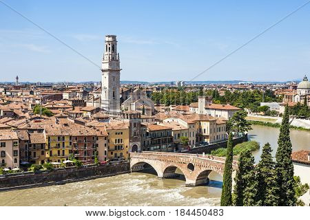 Panorama Of Verona With View Of The Old Dome And The Roman Bridge