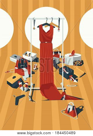 Vector vertical color fashion illustration with long red dress on hangers, drawn in mess of accessories, bags and shoes in geometric style. Creative interior design, good for shop and boutique
