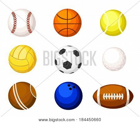 Collection Illustration Sports Balls. Vector Cartoon Ball Set For Soccer And Tennis, Rugby. Basketba