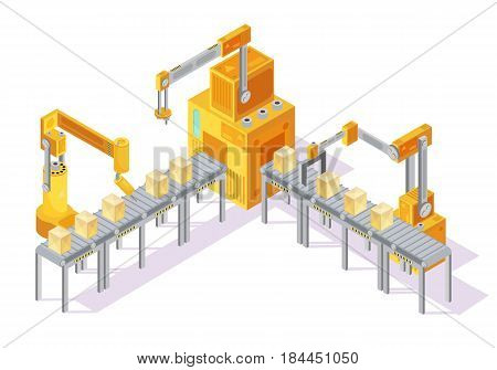Yellow grey conveyor system with control panel, robotic hands and packaging on line isometric vector illustration