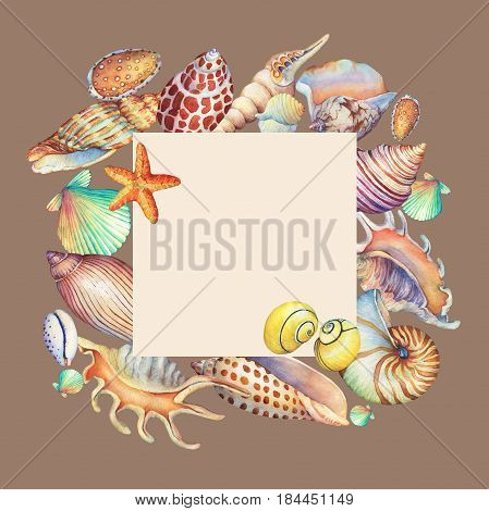 Square frame with underwater life objects. Marine design. Hand drawn watercolor painting on brown background.