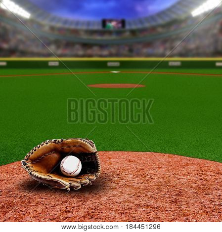 Baseball Stadium With Glove And Ball With Copy Space