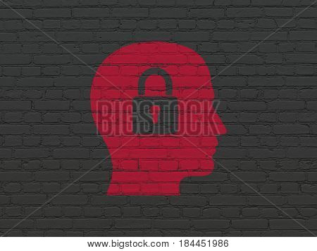 Information concept: Painted red Head With Padlock icon on Black Brick wall background