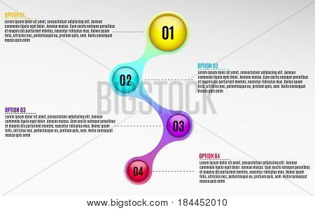 Infographics for business projects. Glossy diagram in 3d style. Multicolored colors. Volumetric glossy balls with option numbers. Business strategy. Vector illustration of a metaball style. EPS 10