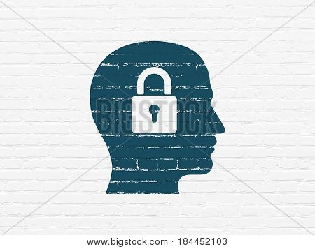 Data concept: Painted blue Head With Padlock icon on White Brick wall background