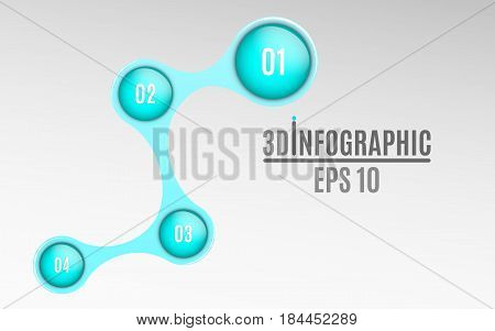 Infographics for business projects. Glossy diagram in 3d style. Volumetric glossy balls with option numbers. Business strategy. Vector illustration of a metaball style. EPS 10