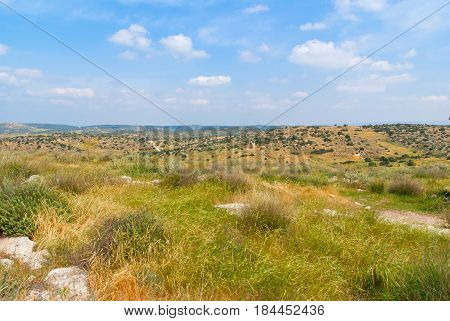 View on biblical landscape Beit Guvrin Maresha. Maresha also Marissa is the famous tourist and archaeological site in Israel