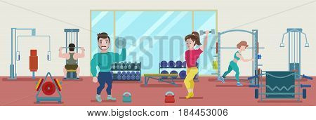 Flat fitness training concept with bodybuilders and athletes doing physical workout in gym vector illustration