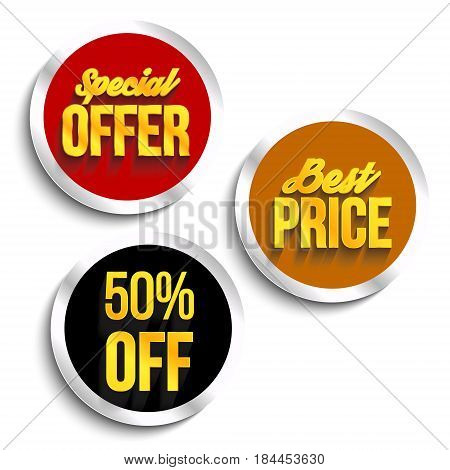 Set of color best price special offer buttons or badges. Vector illustration.