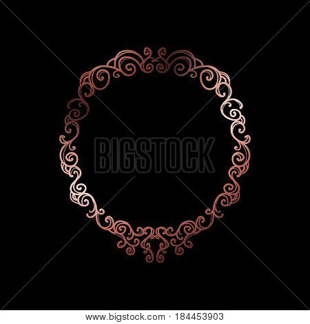Decorative Rose Gold Frame With Copyspace Over Black