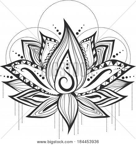 Illustration of Abstract Tattoo Logo Design of Lilly Lotus Flower