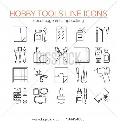 Set of linear icons. Craft tools and supplies for scrapbooking and a decoupage. EPS 10 vector file.