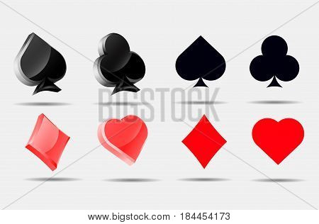 Playing card symbols set  Pokers collection ace 3d blank symbol icons vector