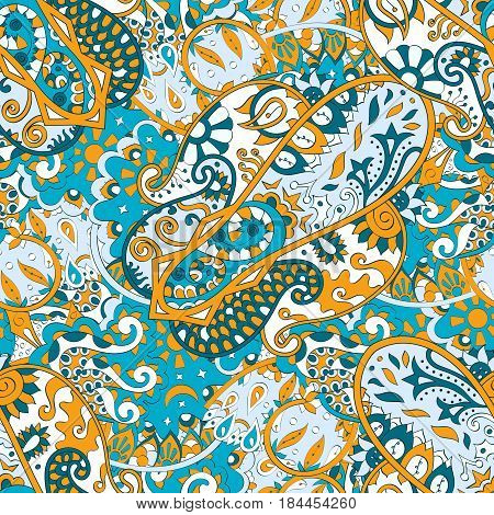 Tracery Seamless Calming Pattern. Mehendi Design. Ethnic Orange Blue Doodle Texture. Indifferent Dis
