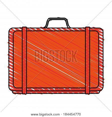 color crayon stripe orange travel briefcase with handle vector illustration