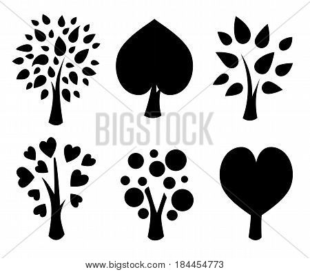 Trees. Collection Of Design Elements. Icons Set. Vector Illustration