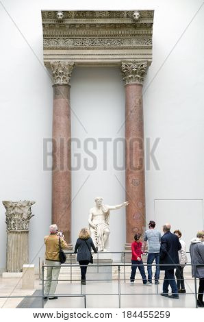 BERLIN GERMANY - APRIL 7: Roman emperor statue in Pergamon museum on April 7 2017 in Berlin