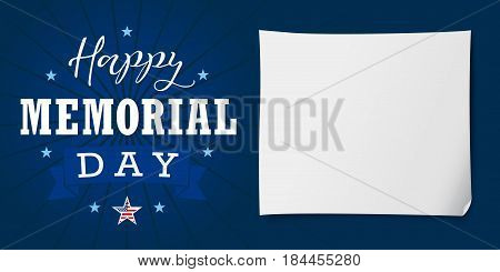 Happy Memorial Day USA lettering banner. Happy Memorial Day USA hand lettering vector card, star, ribbon, stripes and paper on dark blue background