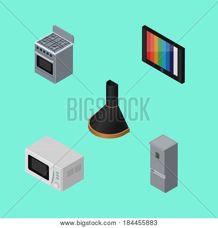 Isometric Appliance Set Of Air Extractor, Television, Kitchen Fridge And Other Vector Objects. Also Includes Cooker, Device, Extractor Elements.