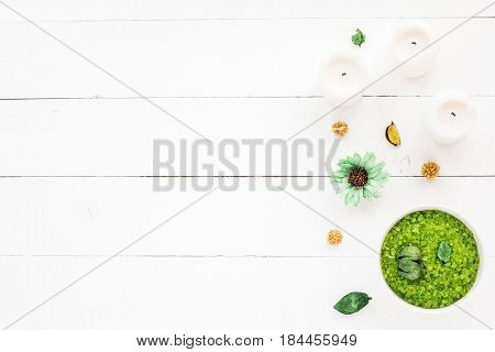 Spa Composition. Candles, Flowers, Sea Salt On On Wihte Wooden Background. Flat Lay, Mock Up. Top Vi
