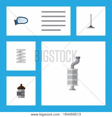 Flat Auto Set Of Auto Component, Absorber, Crankshaft And Other Vector Objects. Also Includes Segment, Silencer, Combustion Elements.