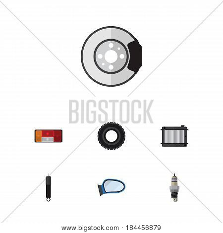 Flat Component Set Of Wheel, Metal, Heater And Other Vector Objects. Also Includes Absorber, Combustion, Radiator Elements.