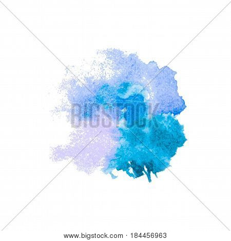 Vector watercolor splash texture background isolated. Hand-drawn blob spot. Watercolor effects. Blue winter seasonal colors abstract background. Trace aquarelle on white.