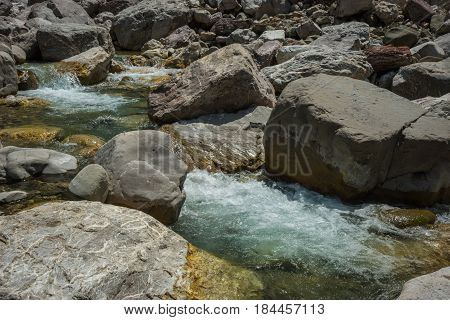 Mountain river gorge near Panta Vrexei in Evritania in Greece