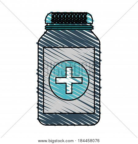 color crayon stripe cartoon remedy bottle with lid and label vector illustration
