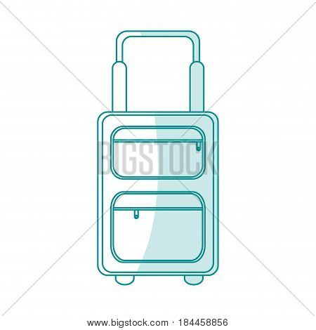blue silhouette shading travel suitcase with handle vector illustration